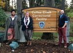 (Left to right) Paul Susi, composer/cellist Anna Fritz, and director Patrick Walsh in front of the Coffee Creek Correctional Facility in Wilsonville, Ore., where Susi performed in 2018.