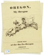 "The cover of a booklet containing sheet music and lyrics to ""Oregon, My Oregon,"" the state song."