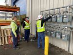 NW Natural employees Glenn Cavender, Clay Studtman and Bill Adler test blended hydrogen gas at the company's Sherwood facility.