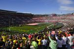 Fans stand for the national anthem before the Rose Bowl NCAA college football game in 2020.
