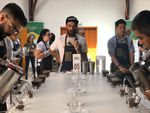 Cup of Excellence judge, Nolan Hirte, evaluating coffees.