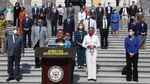 Rep. Karen Bass, D-Calif., lead author of the George Floyd Justice in Policing Act, speaks during an event on police reform last year at the U.S. Capitol.