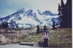 To commemorate the first female ascent of Mount Rainier, Kathy Phibbs wore a dress.