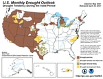 A map shows drought is likely to persist across most of the western United States through May.