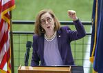 """""""Welcome back, Oregon,"""" says Gov. Kate Brown during the Reopening Oregon Celebration held at Providence Park in Portland, Ore., June 30, 2021. Brown announced the end to mandatory mask use and social distancing."""