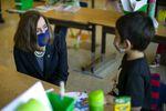 Oregon Gov. Kate Brown visits Scott Elementary School in Northeast Portland on  April 1, 2021.