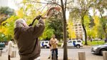Brand Nu Thornton blows the shofar outside the federal courthouse in Portland following the verdict.