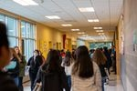 A crowded hallway at Ron Russell Middle School in between classes in December 2019.