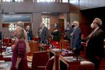 Senators rise and say the Pledge of Allegiance during a special session called to address police reform and coronavirus concerns, at the Oregon State Capitol in Salem, Oregon, on Wednesday, June 24, 2020.