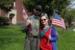 Happy Valley residents Sam Zavalatta and Meagan Campbell attended Saturday's March For Free Speech.