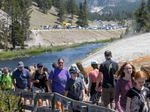 Tourists crowd in to the Midway Geyser Basin July 14, 2021 at Yellowstone National Park, Wy. Yellowstone is one of many national parks seeing record numbers of visitors this summer, while coronavirus cases are rising in many states.