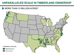 This graphic provided by Weyerhaeuser illustrates how its merger with Plum Creek will give the company owner 7.3 million acres of timberland in the South and 3 million acres in the Northwest.