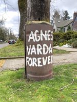 The original pole Jennifer JJ Jones painted what is now the title of the street art project and film festival, Agnes Varda Forever.