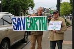 Mark McLeod and Howard Shapiro with the Sierra Club and 350PDX protest the Portland Business Alliance's support for a proposed gas pipeline and terminal.