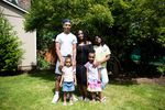 LaTasha Taylor, center, with her children, from left, Roshellio, 18; Saniyah, 3; Sarai, 6; and Ki'Mya, 10 (Kielondre, 16, not pictured) at their home in Portland, Ore., Friday, June 19, 2020.