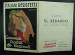 An Italian menu from the fascist period with a propagandistic illustration of a hand in a fist holding an Italian flag, promoting domestic food production. Translation: Italians, resist! Buy national [Italian] products.