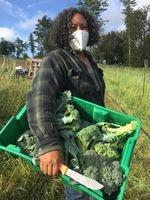 Shantae Johnson of Mudbone Grown with a harvest of fresh broccoli