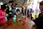 The Portland March For Science event also included educational teach-ins. NW Noggin worked with kids and adults to construct neurons using colorful pipe cleaners.