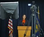 Shemia Fagan gives her acceptance speech to unmanned camera after winning the race for Oregon's secretary of state, Nov. 3, 2020.