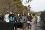 Bend city councilor Gena Goodman-Campbell, Mayor Sally Russell and Rabbi Johanna Hershenson read statements from former Deschutes County employees at a press event in Drake Park attended by about 30 women, Oct. 26, 2020.
