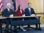 Oregon Secretary of State Dennis Richardson, left, Gov. Kate Brown, and Oregon Treasurer Tobias Read make up Oregon's State Land Board.