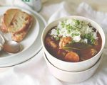 """Asian and Cajun/Creole ingredients — lemongrass, Creole seasoning, fish sauce — brighten and enliven  Chicken, Shrimp and Andouille Sausage Gumbo fromTapalaya chef/owner Anh Luu. The recipe is featured in the cookbook """"Portland Cooks."""""""