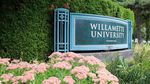 A sign marks the entrance to Willamette University in Salem, Ore., Wednesday, Aug. 7, 2019. California students used to bolster the student body at the school.