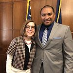 Enlet and Oregon Gov. Kate Brown at the Oregon legislature in Salem, Ore. in 2019. Enlet is the Consul General of Micronesia for the Western United States.