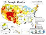 About a quarter of Oregon was experienceing extreme drought conditions as large wildfires spread across the western part of the state.