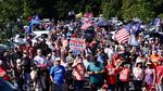 Supporters of President Donald Trump gather in Oregon City on Sept. 7, 2020, for a vehicle rally.