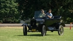 author Ian McCluskey takes a turn behind the wheel of a Model T at WAAAM.