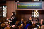 Oregon state Sen. Shemia Fagan, D-Portland, speaks on the floor of the Senate on Monday, Jan. 14, 2019, at the Oregon Capitol in Salem, Ore.
