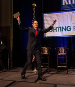 U.S. Senator Ron Wyden comes on stage during the Democratic election party.