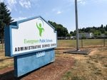 The sign outside Evergreen Public Schools pictured July 29, 2020. The school was one of many to announce plans to start fall with online-only classes.