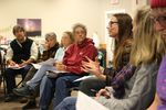 Harmony Burright, a planning coordinator with the Oregon Water Resources Department, explains the timeline for changing the rules around water use to Harney County residents and others at a collaborative planning meeting. December 12, 2019.