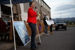 Carolyn Long delivers a drive-through town hall in Washougal, Wash., on Oct. 12. Long has raised almost as much money in her 2020 campaign as she did in 2018.