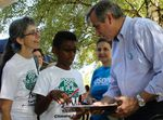U.S. Senator Jeff Merkley attends a rally opposing oil drilling in the Arctic.