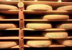 Comte cheese matures in a cellar.