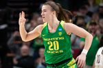 Sabrina Ionescu celebrates after making a shot during the Oregon Ducks' Elite Eight win over Mississippi State at the Moda Center on Sunday, March 31, 2019.