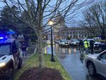A State Patrol checkpoint greeted arriving state lawmakers at the Washington Capitol on the first day of the legislative session in January. The unprecedented security followed the Jan. 6 attack on the U.S. Capitol.