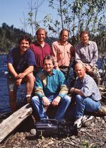 """Steve Amen with the """"Oregon Field Guide"""" crew in the 1990s"""
