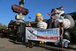 Supporters of a union at the Gladstone, Oregon, Burgerville location held a demonstration in Portland on Thursday. They will hold a vote on the unionization effort May 12.