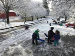 Children take to a snowy street next to Northeast Portland's Sabin School on a snow day, Feb. 21, 2018.