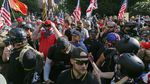 """Alt-Right, Proud Boy and Patriot Prayer members staged a """"Freedom and Courage"""" rally and march in Portland, Ore., on June 30, 2018."""