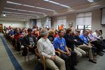 Supporters and opponents of the oil terminal project filled the special EFSEC meeting in Olympia. Two overflow rooms were opened to handle the crowds.