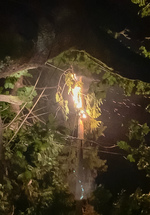 Mike Schaer, a firefighter with the Gates Rural Fire Protection District, captured this image of a fire on a power line near his home on Sept. 7, 2020.