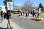 Members and supporters of the Oregon Institute of Technology's faculty union,  picketing in front of the school's Klamath Falls campus, Apr. 28, 2021.