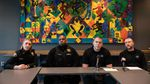 Lieutenant Tina Jones, Travis Gamble, Sergeant Ken Duilio, and Lieutenant Jason Pearce answer questions during a press conference discussing a string of recent shootings in Portland.