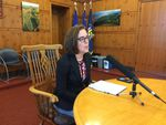 Oregon Gov. Kate Brown addresses reporters after announcing that a proposal to overhaul Oregon's corporate tax code will be placed on hold until at least 2019.