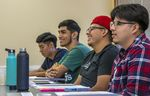Students from the Liberation Scholars program attend a philosophy seminar at George Fox University in Newberg, Oregon, July 22, 2021. The two-week program introduces Latino students from Woodburn High School to college.